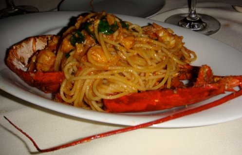 Lobster on linguini.