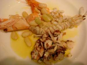 Shrimp, octopus, white fish and sole.